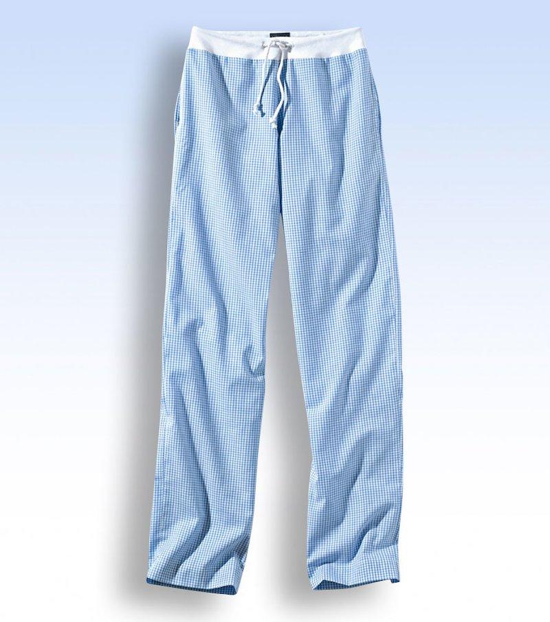 Pantalón de pijama largo mujer de algodón - Azul