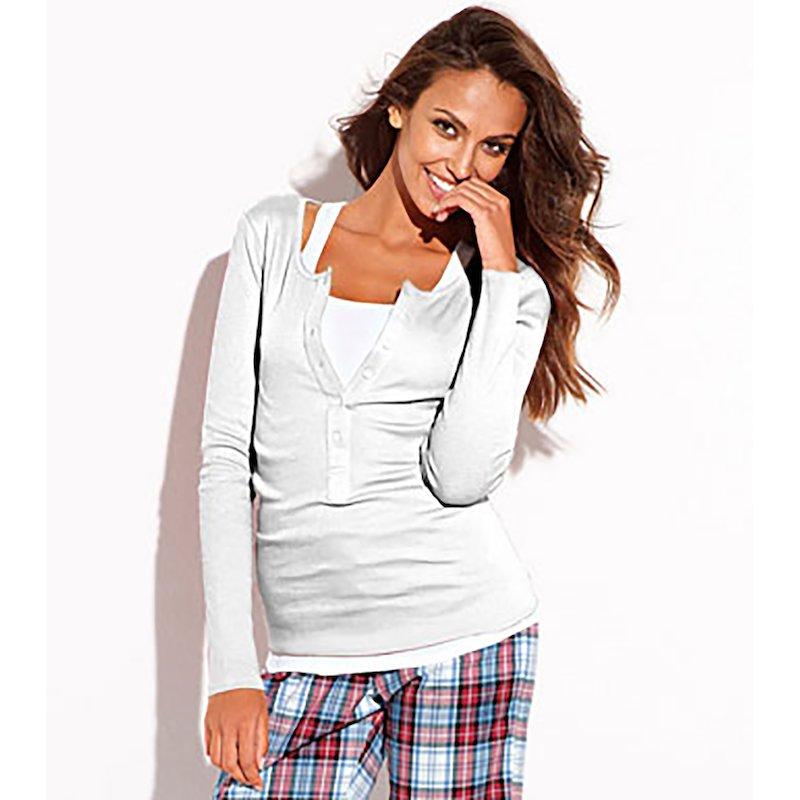 Camiseta de pijama mujer manga larga