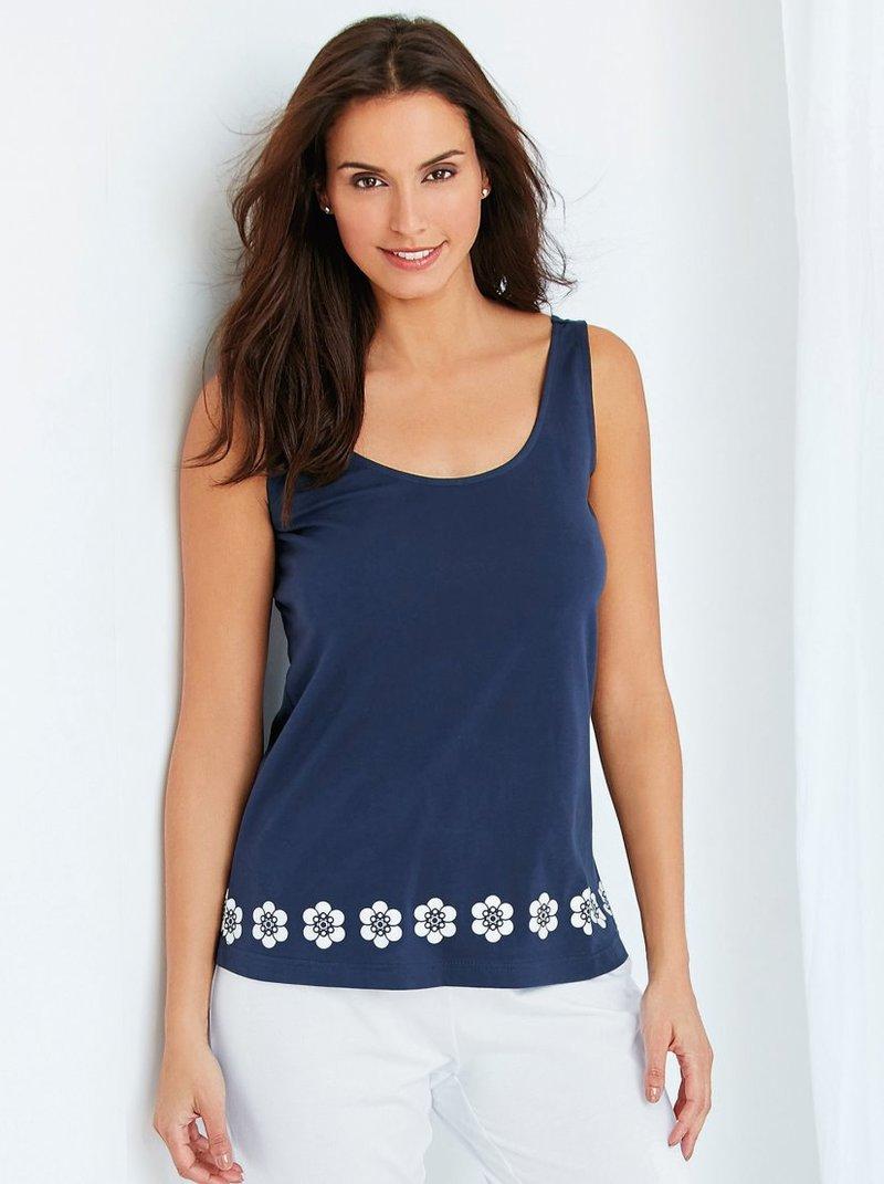 Camiseta pijama mujer algodón sin mangas floral