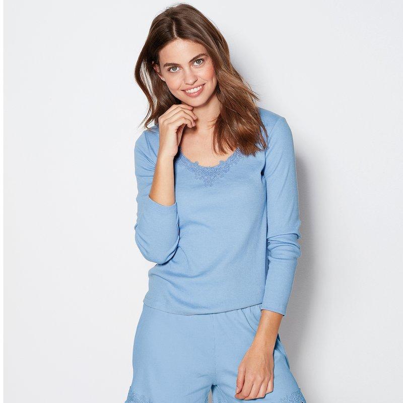Camiseta pijama mujer en punto canalé con guipur