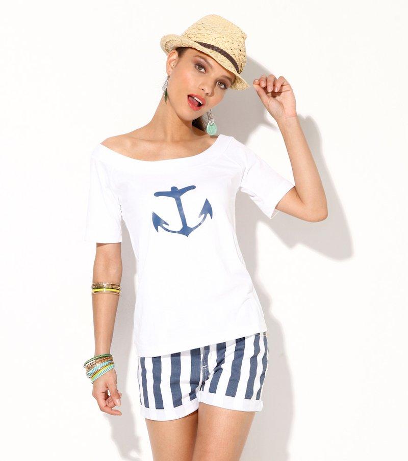 Camiseta mujer manga corta marinera 100% algodón