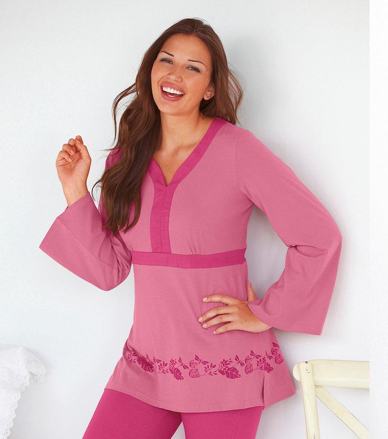 Camiseta de pijama mujer manga larga 100% algodón