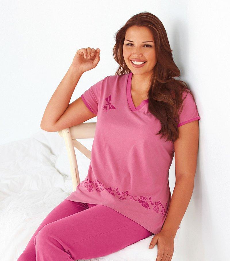 Camiseta de pijama mujer manga corta 100% algodón