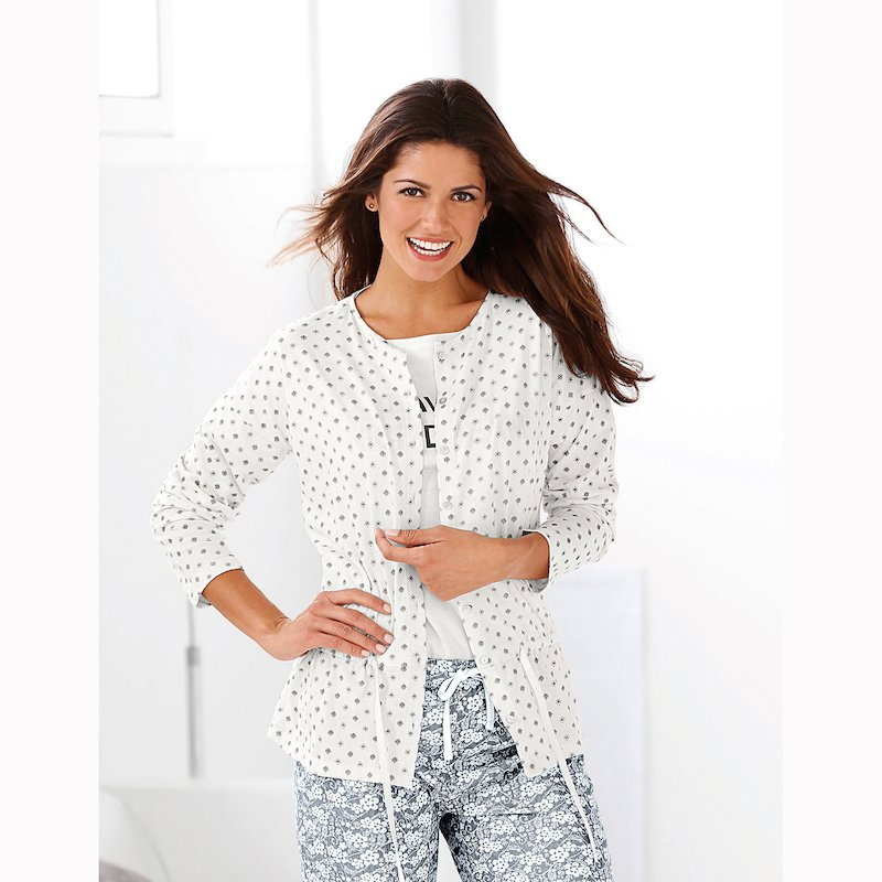 Chaqueta pijama mujer estampada con botones de nácar