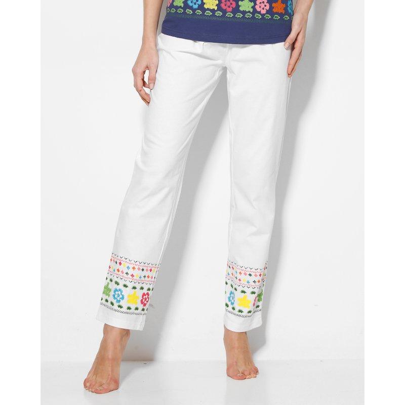 Pantalón largo pijama con cenefa estampada