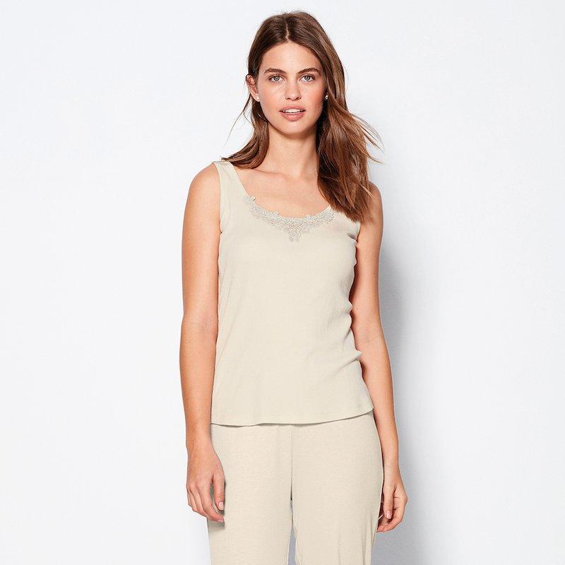 Camiseta pijama sin mangas en canalé con guipur