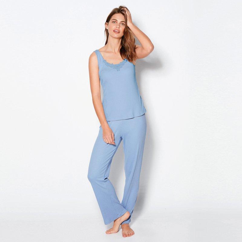 Pantalón largo de pijama mujer en punto canalé
