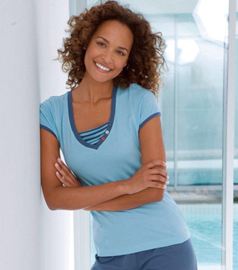 Camiseta de pijama mujer manga corta de algodón