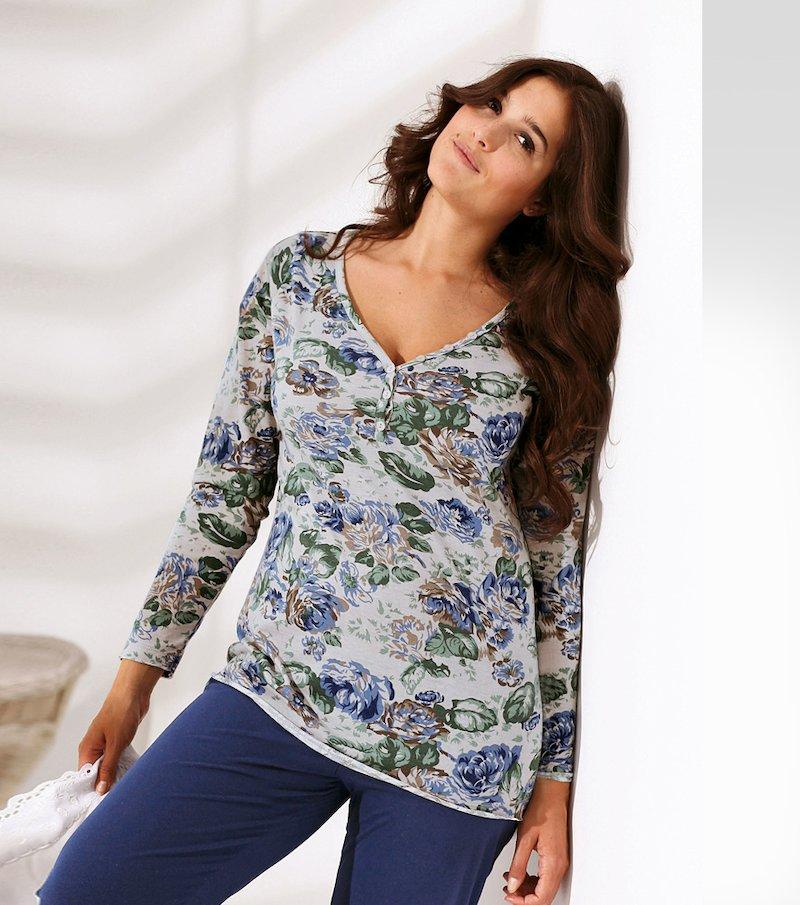Camiseta de pijama mujer manga larga de punto