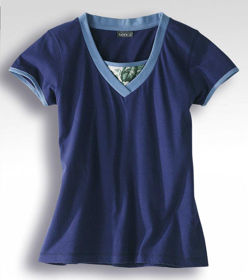 Camiseta de pijama mujer manga corta efecto doble