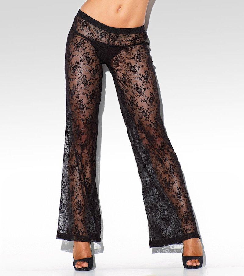 Pantalón largo mujer de encaje semitransparente - Negro