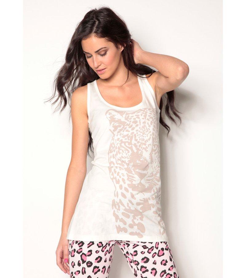 Camiseta de pijama mujer sin mangas estampada