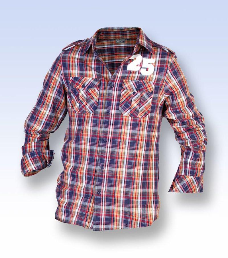 Camisa de hombre estampado cuadros manga larga