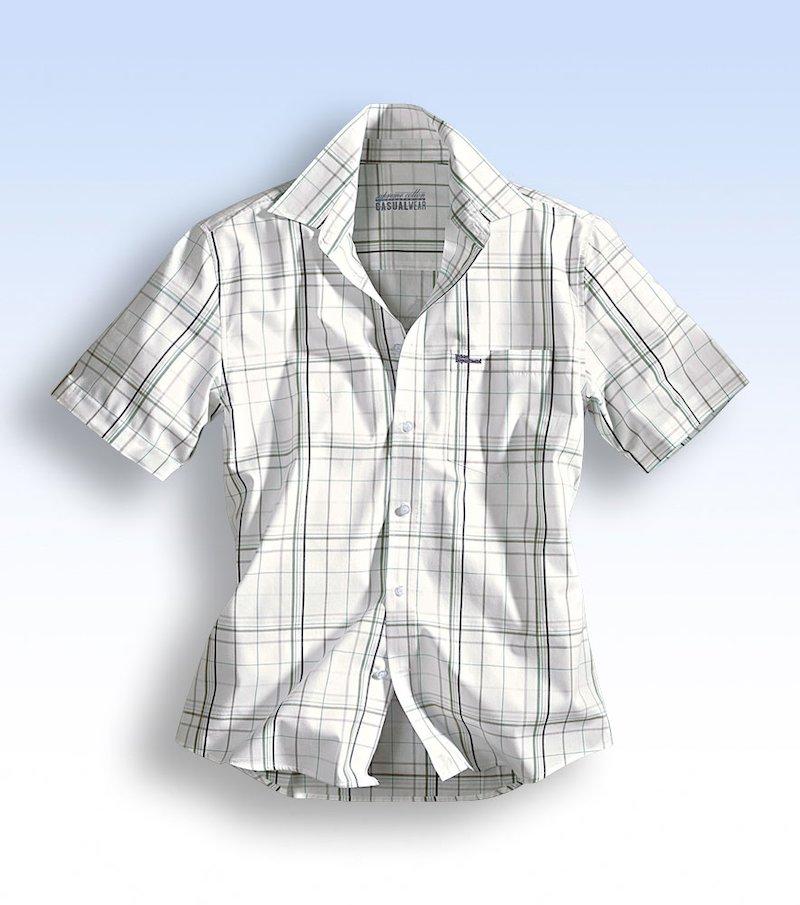 Camisa de hombre estampada cuadros manga corta