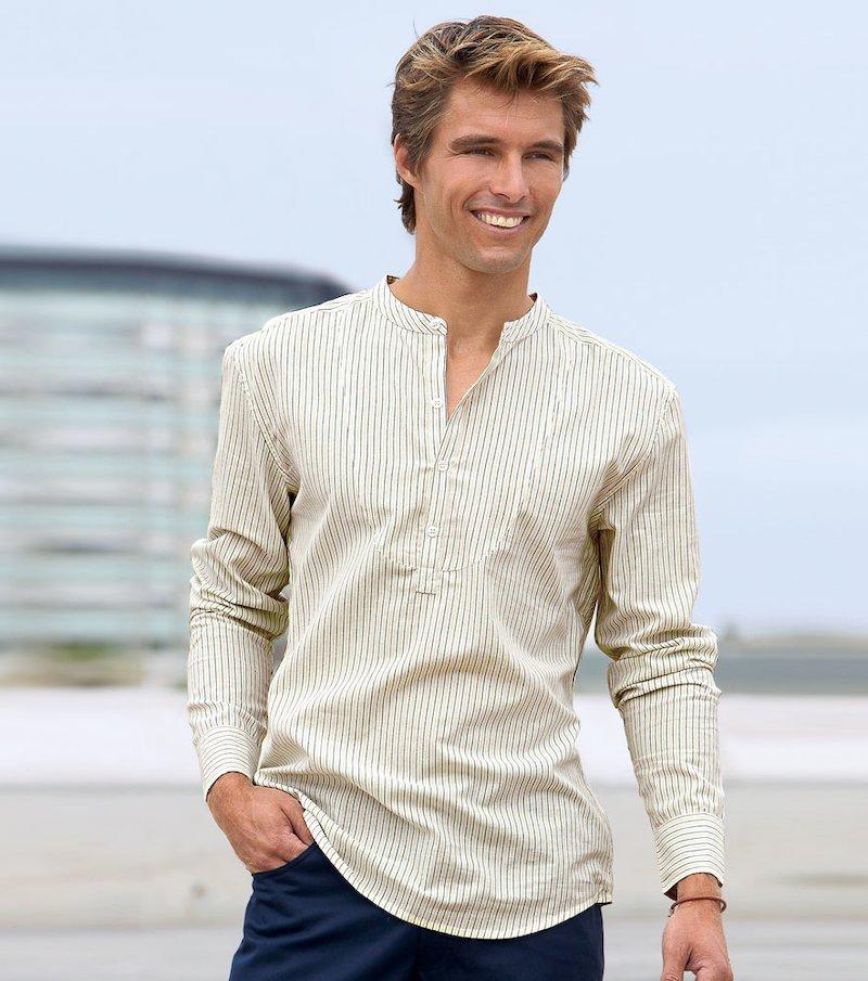 Camisa de hombre cuello mao