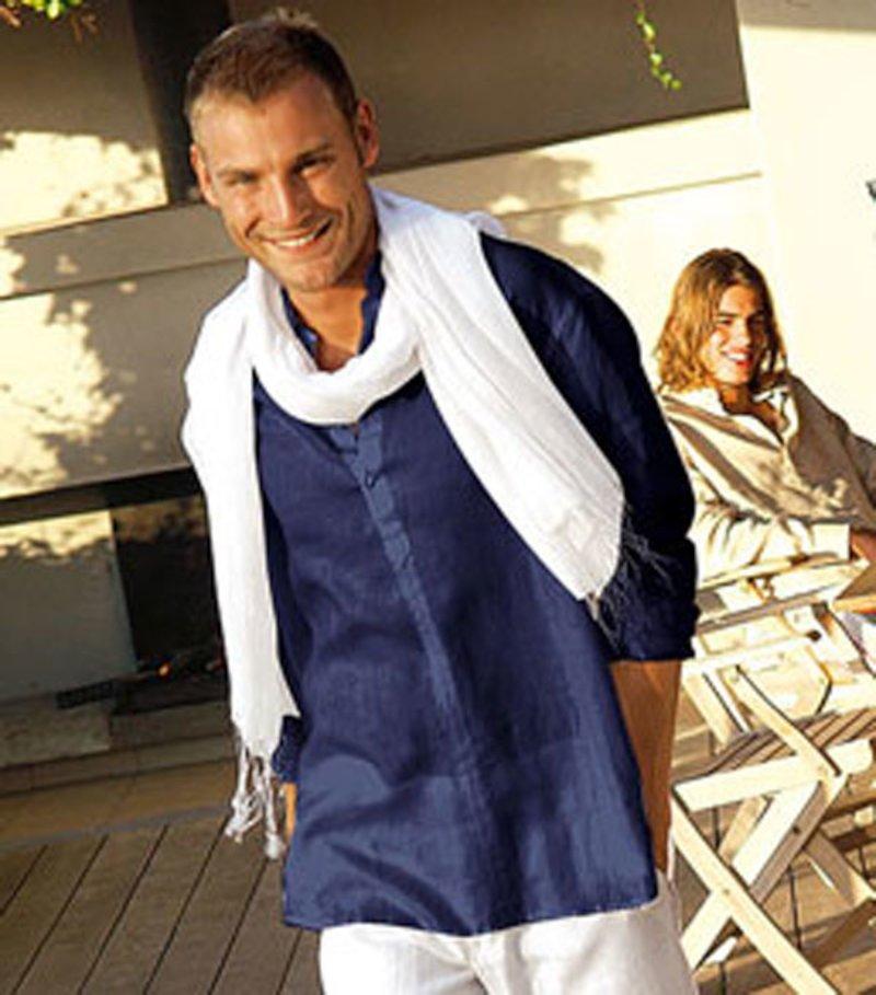 Camisa de hombre cuello mao lino
