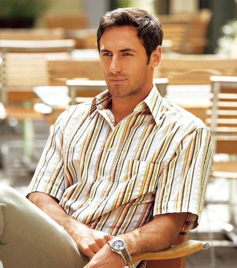 Camisa hombre manga corta de rayas