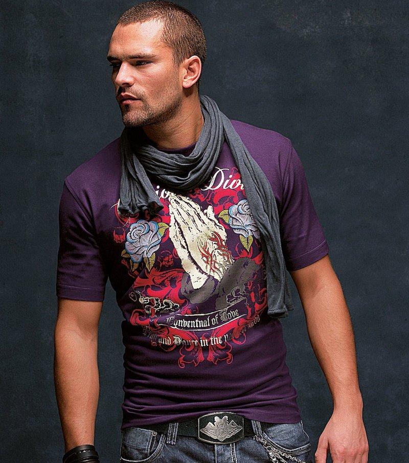 Camiseta de hombre manga corta estampada