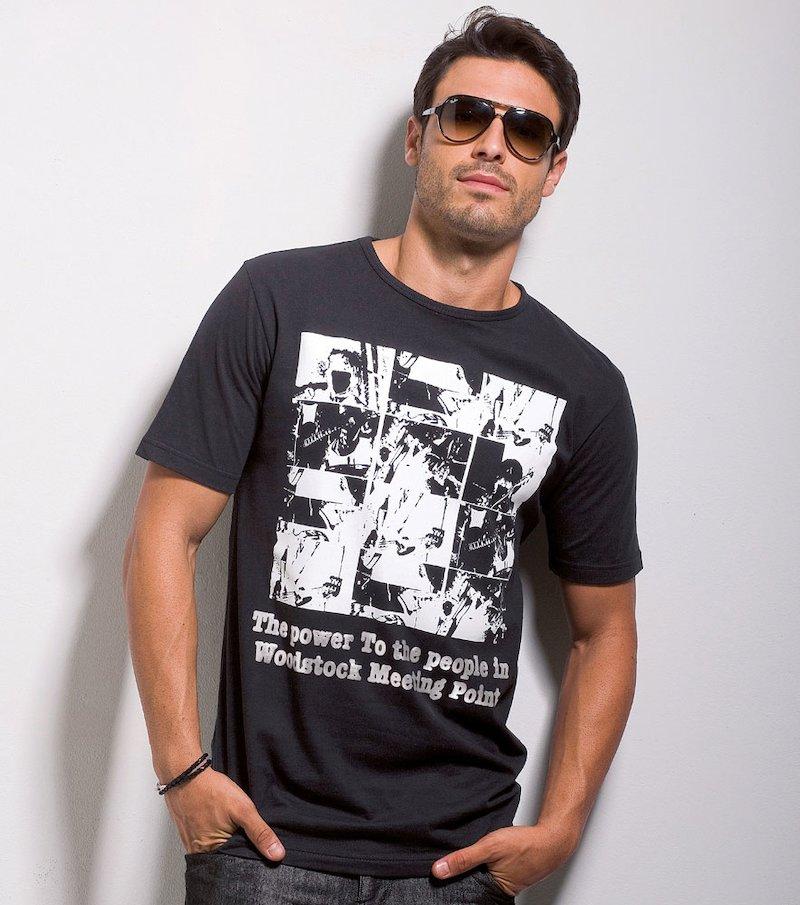 Camiseta hombre manga corta estampado metalizado