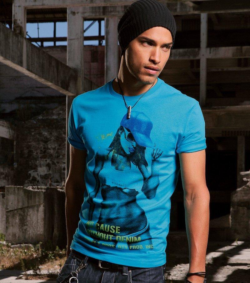 Camiseta de hombre manga corta estampada de algodón