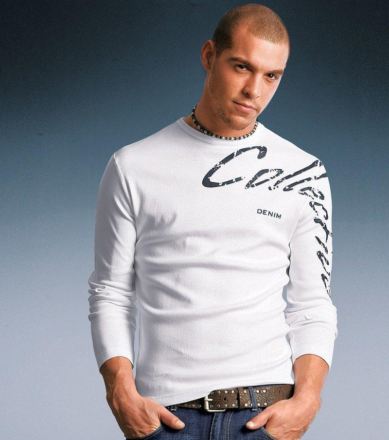 Camiseta de hombre manga larga estampada