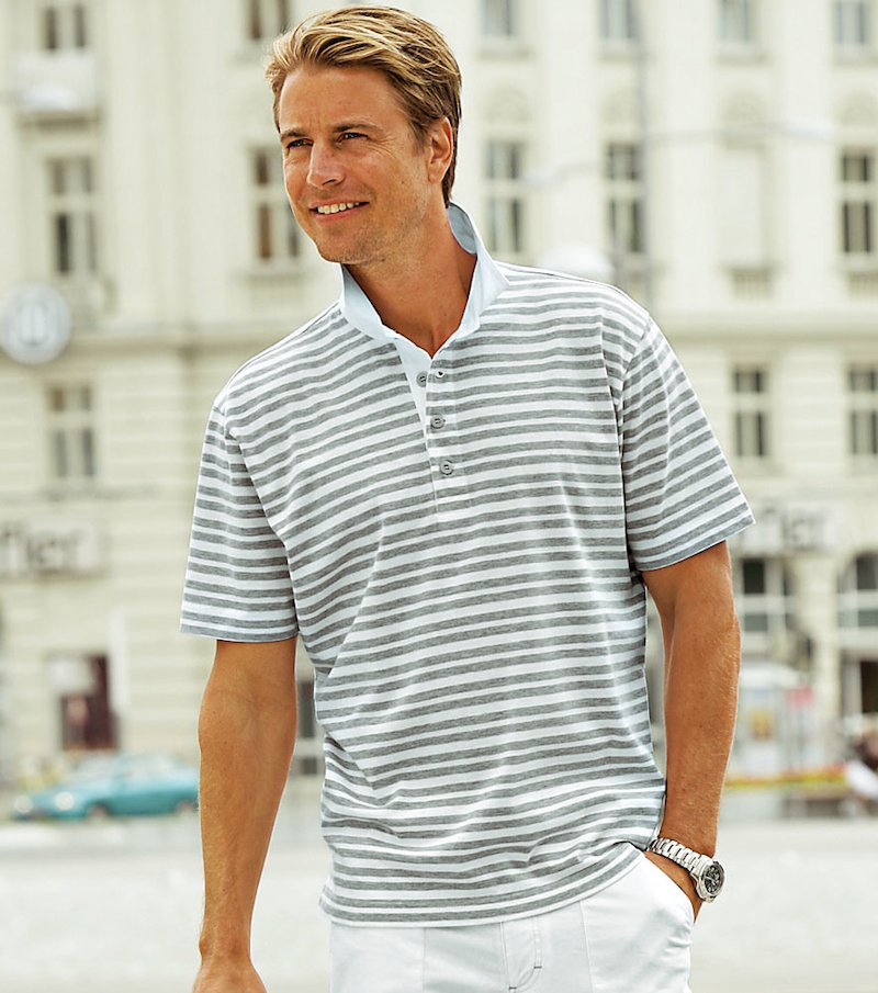 Camiseta polo hombre manga corta de rayas