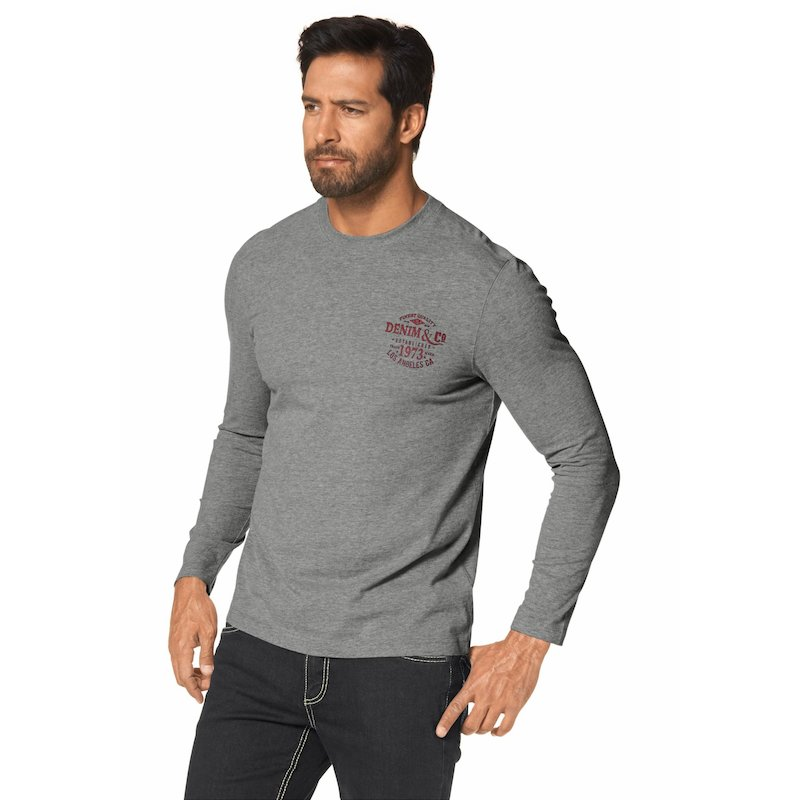 Camiseta manga larga estampada hombre