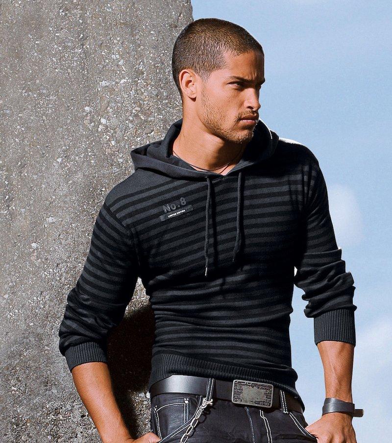 Jersey hombre manga larga con capucha rayas tricot