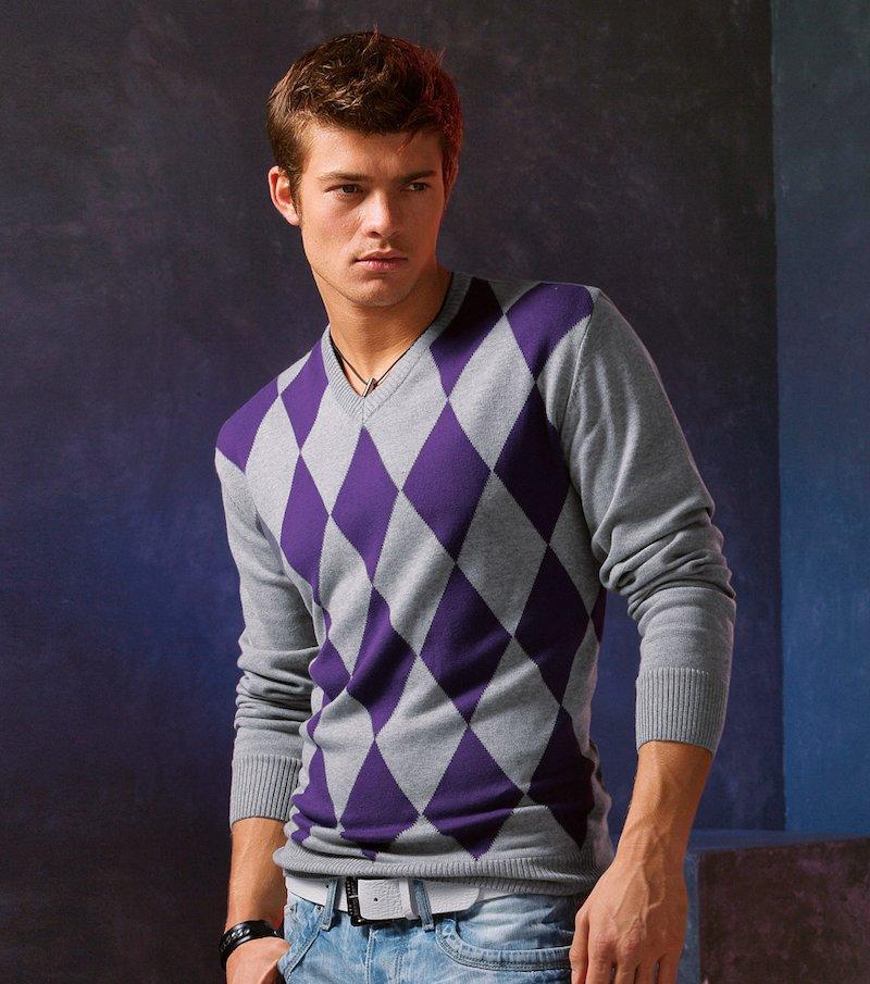 Jersey hombre manga larga rombos tricot