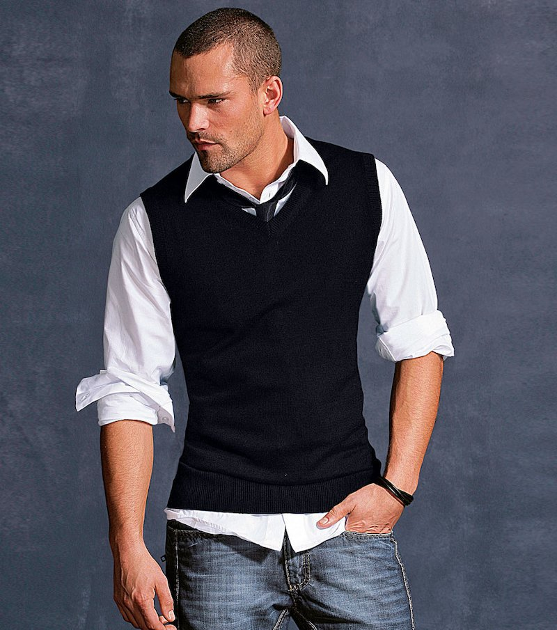 Chaleco hombre de punto tricot - Negro