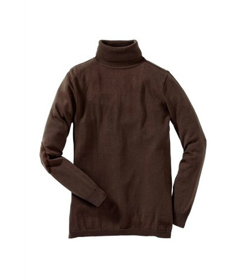 Jersey tricot cuello alto para mujer con coderas de antelina