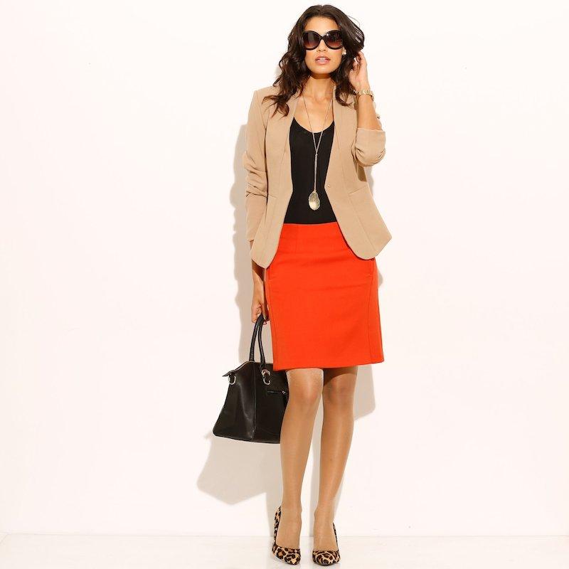 Falda mujer con pinzas tejido elástico - Naranja
