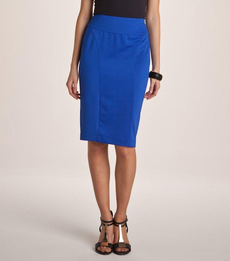 Falda pincel en punto milano elástico - Azul