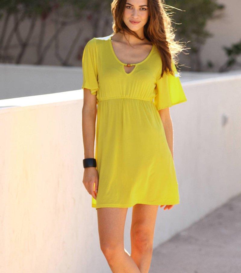 Vestido de manga corta mujer - Amarillo
