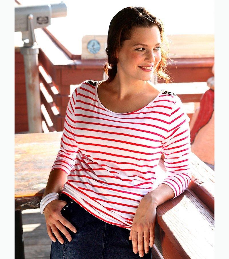 Camiseta mujer cuello barco rayada - Rojo