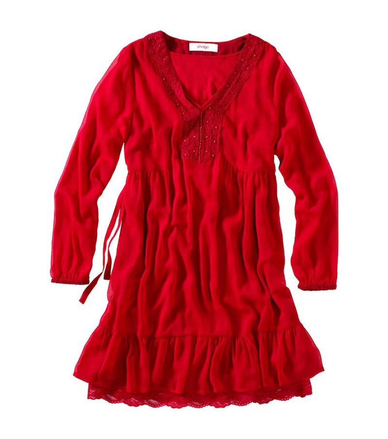 Vestido mujer manga larga - Rojo