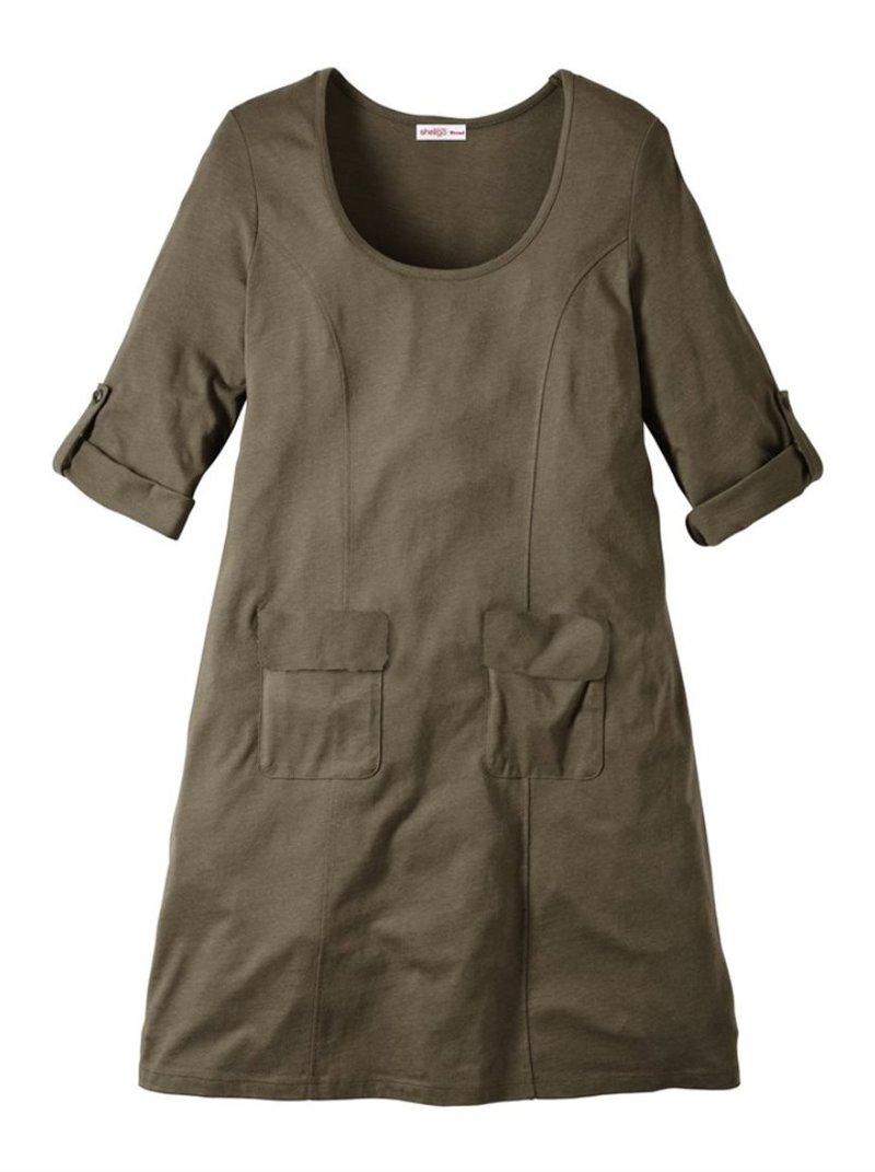 Vestido escote redondo y manga 3/4 ajustable bolsillos plast