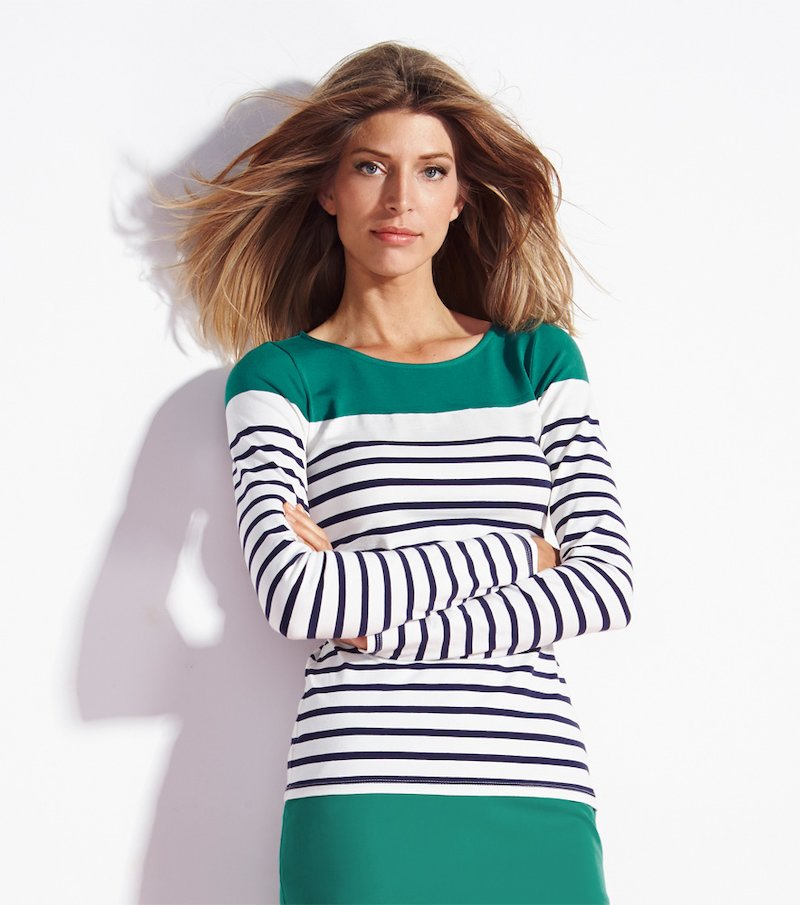Camiseta manga larga rayas tejidas y franja posicionada en c