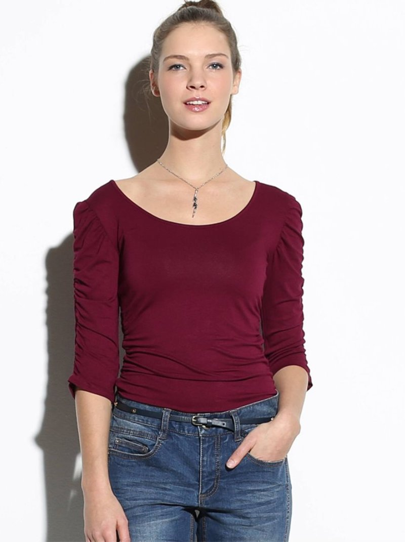 Camiseta fruncida mujer