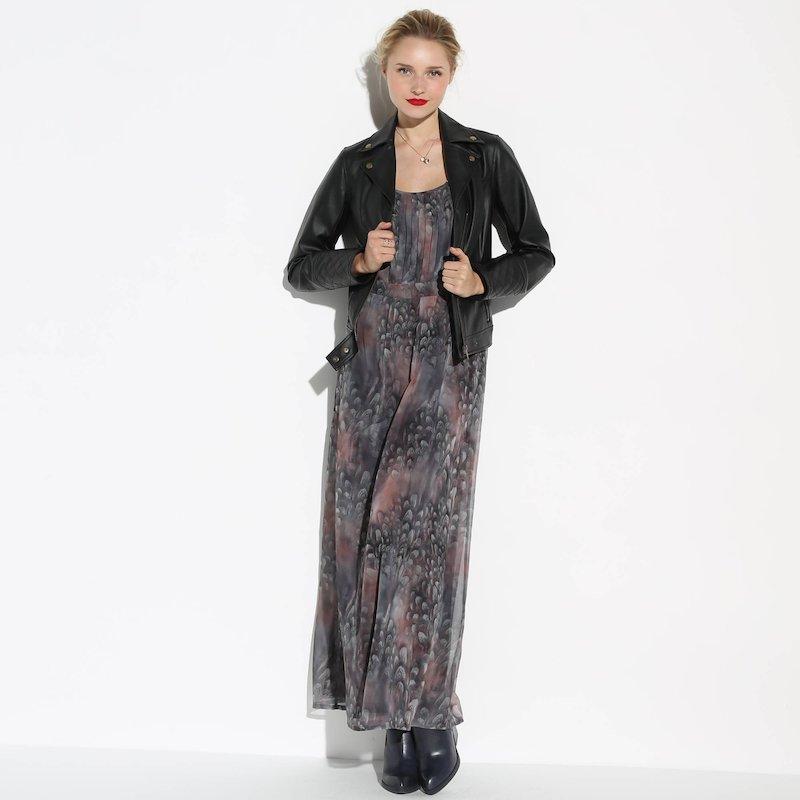 Vestido largo drapeado mujer