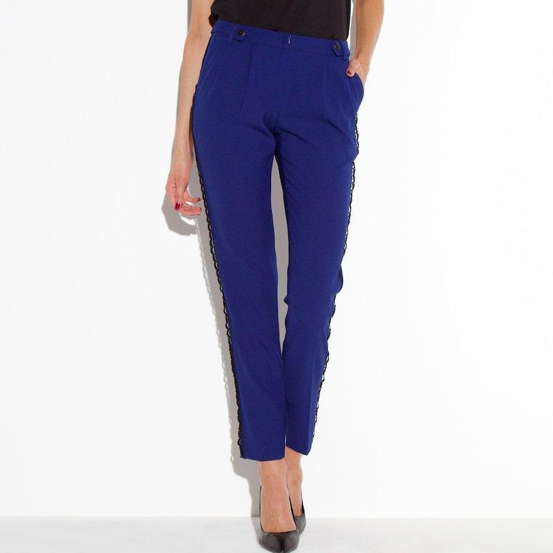 Pantalón estilo smoking mujer - Azul