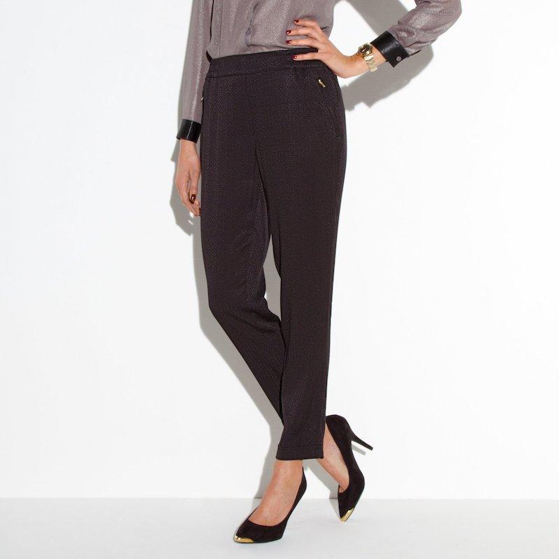 Pantalón jacquard mujer - Negro