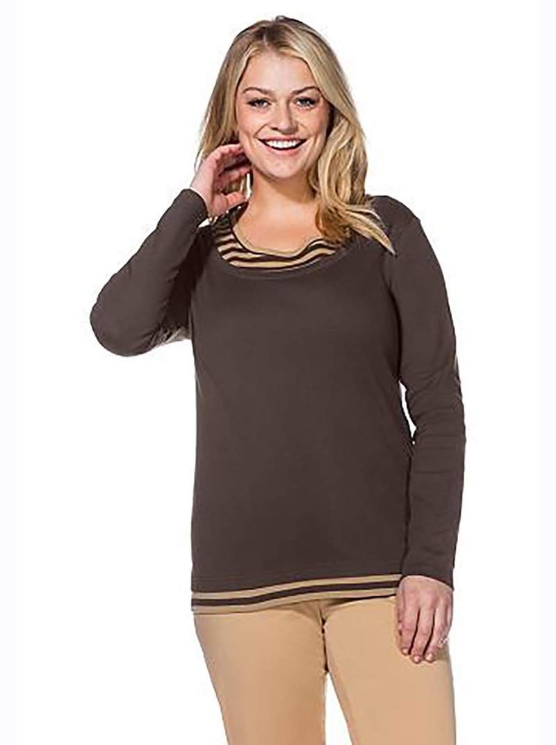 Camiseta manga larga mujer efecto 2 en 1 tallas grandes