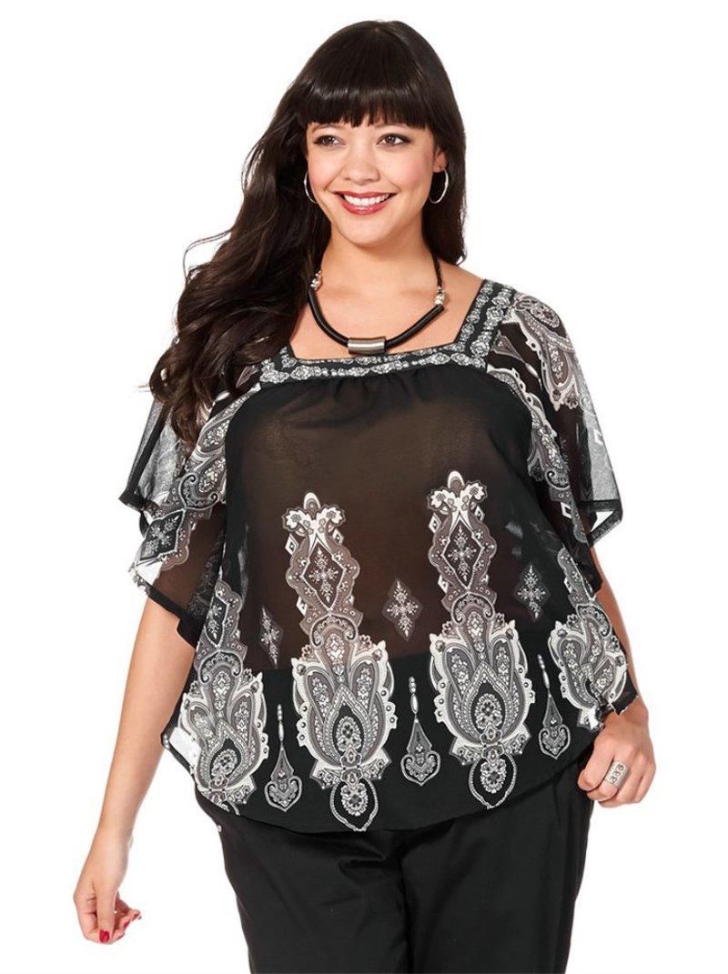 Blusa estampada transparente mujer