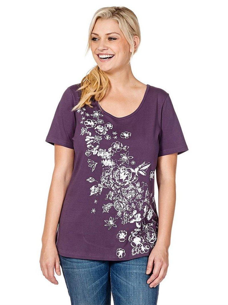 Camiseta manga corta mujer floral - Lila