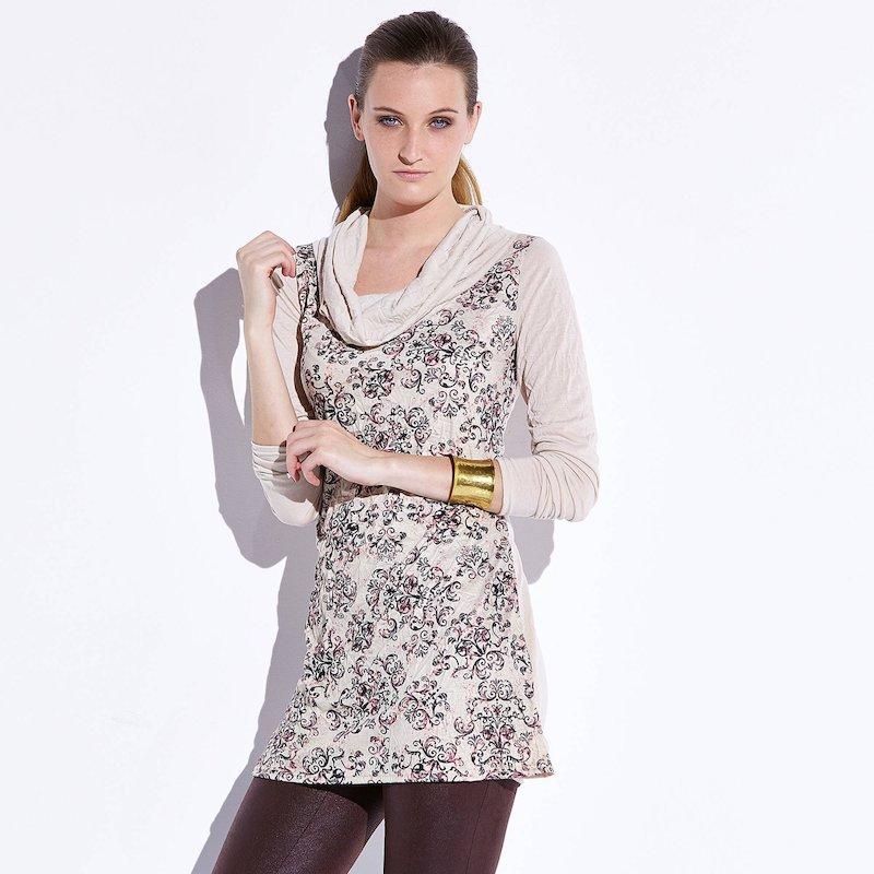 Camiseta túnica mujer escote drapeado