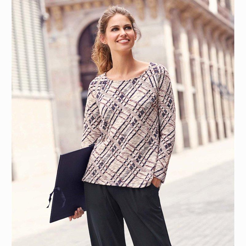 Jersey mujer manga larga tricot con aberturas - Azul