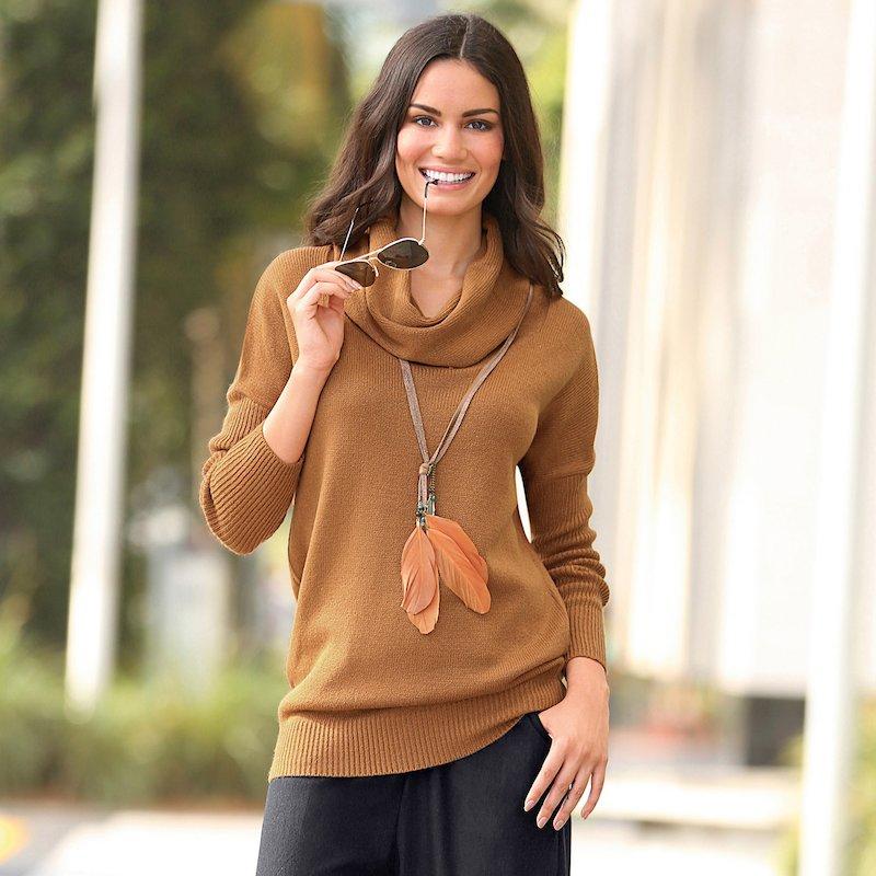 Jersey mujer tricot de cuello vuelto manga larga