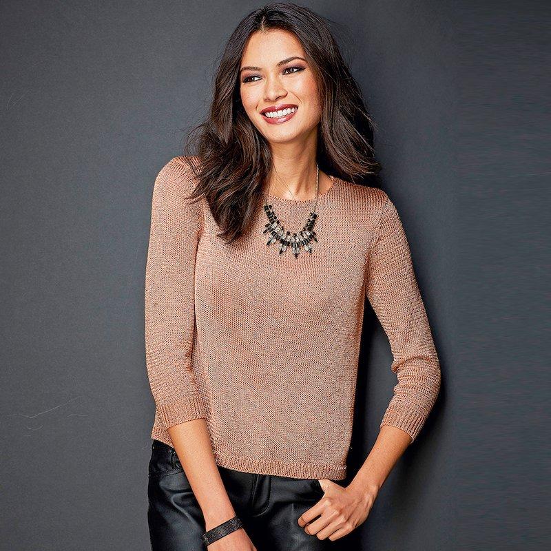 Jersey de vestir mujer tricot con hilos metalizados - Rosa