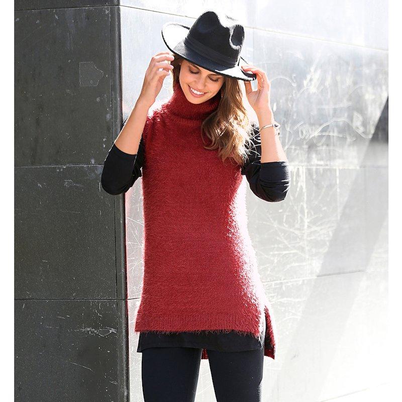 Jersey cuello vuelto sin mangas asimétrico mujer